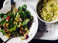Salade (baby spinach / radis / asperges / concombre / graine de lin / graine de tournesol / vinaigre balsamique / huile d'olive ) & fondue de poireau avec couscous