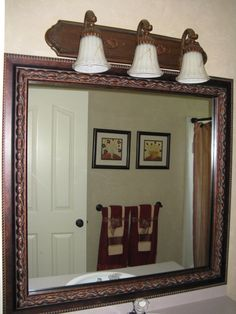Bathroom Mirror Frame Kit. Sticks Right To The Surface Of Your Existing  Mirror. Plastic