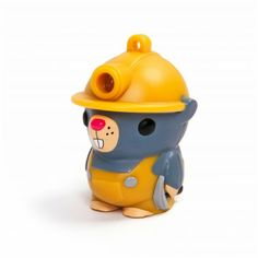 Dig this light-up subterranean critter! Bright LED light shines out of his helmet when his tail is pushed.