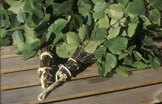 It´s a tradition from ancient days in Finnish saunas that you gently hit yourself with a bunch of birch branches to clean yourself and to get better circulation. The birch leaves also contain natural soap.