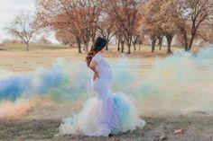 Rainbow baby smoke bomb maternity photoshoot. #ShopSexyMama #SexyMamaMaternity #rainbowbaby Maternity Photo Dresses, Rainbow Baby, Pregnancy Photos, Formal Dresses, Wedding Dresses, Tulle, Smoke, Photoshoot, Elegant