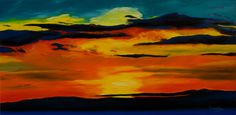 """Oil painting titled """"Scottish Sunset"""", done on an 18"""" x 36"""" x 1.5"""" canvas. Frame not required, painted image wraps around. Available at www.etsy.com/shop/apaintedcanvas"""