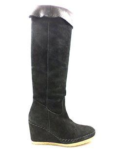 MUSE AV328 Stiefel Damen keilschuhe 35 EU Schwarz Wildleder - Stiefel für frauen (*Partner-Link)