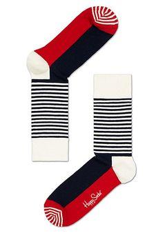 HAPPY SOCKS Half Stripe - Socken - Weiß - Planet Sports