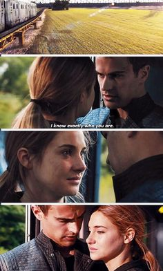 "Tris: ""I don't know who I am anymore."" Tobias: ""I know exactly who you are."" Tris: ""You sure about that?"" Tobias ""I'm very sure.""   #Divergent"