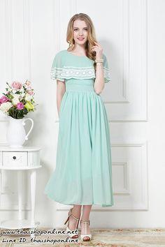 แมกซี่เดรสสวยๆ ผ้าชีฟอง เนื้อดี สีเขียว ราคา 690 บาท รหัสสินค้า SC3914 Line ID: thaishoponline