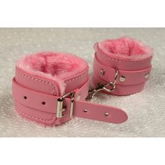 BDSM Wrist Cuffs ankle cuffs Hand cuffs. bondage restraints. Pink faux... ($16) ❤ liked on Polyvore featuring jewelry, bracelets, adjustable bangle, cuff bangle, pink jewelry, handcuff jewelry and vegan jewelry