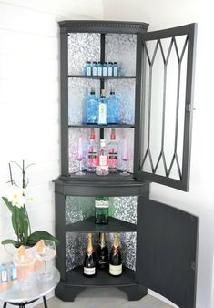 Vintage Corner Gin Bar Drink Display Unit Cocktail Cabinet, AS Graphite, Silver | eBay