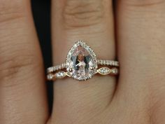 Tabitha and Christie Band 14kt Rose Gold Thin Pear by RosadosBox, $1275.00. Love the pear shape.
