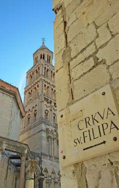 Street sign and bell tower, Split: http://bbqboy.net/highlights-visit-diocletians-palace-split-croatia/  #split #croatia