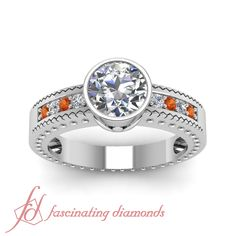 Bezel Elegance Ring || Round Cut Diamond Side Stone Ring With Orange Sapphire In 14K White Gold