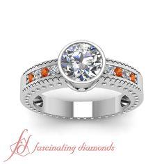 Bezel Elegance Ring    Round Cut Diamond Side Stone Ring With Orange Sapphire In 14K White Gold