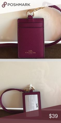 NWT Coach ID Lanyard Leather ID Lanyard with clear ID pocket on front and 2 card slots in back. Has detachable long strap. NEW WITH TAGS Coach Accessories Key & Card Holders