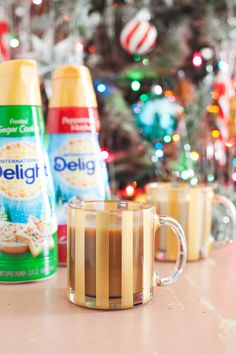 DIY Painted Striped Mug with International Delight holiday creamers - Paint is dishwasher, microwave, and food safe!