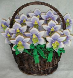 Orchid cookie pops basket
