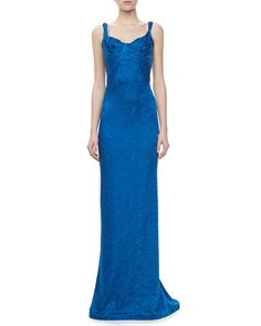Embroidered Sweetheart Sleeveless Gown, Blue by Zac Posen at Neiman Marcus Last Call.