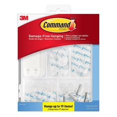 This Command Variety Hanging Kit offers a handy solution for hanging decor without damaging your walls. Utilizing adhesive tape strips, now you can redecorate, move, and adjust your hooks however you desire without tacks or nails. Decorative Hooks, Hung Up, Nail Holes, Hanger Hooks, Hanging Pictures, Polyurethane Foam, Kit, Memorable Gifts, Dorm Decorations