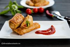 Photo about Delicious fried rolls stuffed with guacamole on white plate. Image of spicy, stuffed, chinese - 75520343 Fried Vegetables, White Plates, Guacamole, Fries, Spicy, Recipies, Rolls, Food And Drink, Healthy Recipes