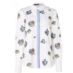 Sportmax Code Longsleeve shirt with embroidered floral pattern (£220) via Polyvore featuring tops, optical white, women, embroidered shirts, floral long sleeve shirt, long sleeve tops, white embroidered top and white long sleeve shirt