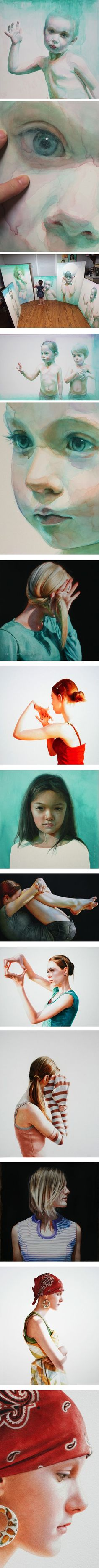 Ali Cavanaugh, watercolor on clay - modern fresco - portraits