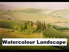 Watercolour Landscape painting Demo, Pencil and Wash Technique - YouTube