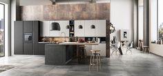 Cucina Moderna - Time Finiture: nero opaco, nebbia opaco | Top laminato porfido nero | Piano snack laminato speciale 134 | Gola linea inox | Zoccolo inox http://www.arredo3.it/cucine-moderne/cucina-moderna-time/
