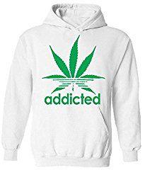 icustomworld Addicted Hoodie Green Marijuana Leaf Kush Dope Hooded Sweatshirt