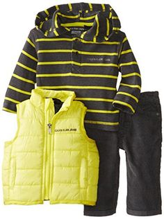 5646edbda839 Calvin Klein Baby-Boys Newborn Vest with Stripes Hooded Tee and Pants
