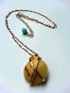 Yellow Hawaiian Shell Wire Wrapped Necklace