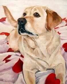 Yellow Lab dog painting