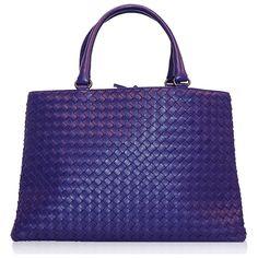 Bottega Veneta Purple Milano Woven Tote ❤ liked on Polyvore featuring bags…