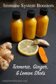 Turmeric, Ginger, & Lemon Shots - Daily Dose of Greens Turmeric Juice, Turmeric Smoothie, Fresh Turmeric, Ginger Juice, Fresh Ginger, Fresh Tumeric Recipes, Kale Juice Recipes, Juicer Recipes, Smoothie Recipes