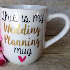 Wedding Planning Mug Each mug is unique because it is handcrafted with love and dedication. I spend a lot of my time trying to make your mug perfect so shipping may take some time. It is not dishwasher nor microwave safe, so HANDWASH only. No trades. Offers will be considered. You are paying for the design not the mug!! I will try to ship as soon as mug is finished!! If you want a specific color for the writing or mug height tell me in the comments!!❤️ Tatem's Mugs Other