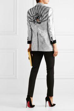 Gucci - Velvet-trimmed Embellished Metallic Brocade Blazer - Silver - IT44