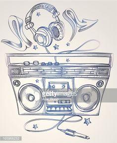 Drawn boombox & headphones : Arte vettoriale