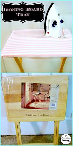 I turned a tray stand into a mini-ironing board for my craft room. It's hassle free and looks much better than a huge ironing board! Mini Ironing Board, Ironing Boards, Mason Jar Gifts, Mason Jars, Decor Crafts, Diy Home Decor, Diy Crafts, White Vinegar Cleaning, Unique Graduation Gifts