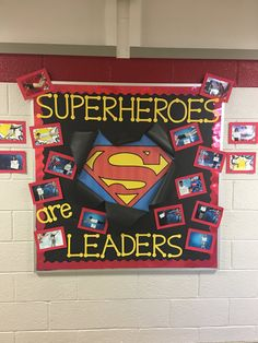 'Superheros are Leaders' bulletin board from Gretchen J. Robinson is a great way for students to think about their leadership skills. Also to be superheros, which is easy to do with by Superhero Bulletin Boards, Superhero Classroom Decorations, History Bulletin Boards, Reading Bulletin Boards, Classroom Bulletin Boards, Classroom Themes, Preschool Bulletin, School Themes, School Fun