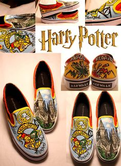HARRY POTTER SHOES by ~artsyfartsyness on deviantART    So many awesome shoes ;c; OMG @Molly Sullivan