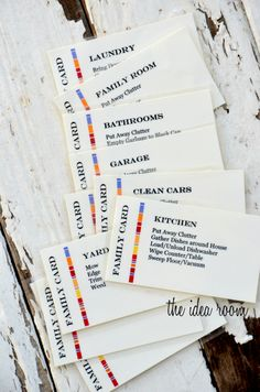 Great way to remind kids what needs to be cleaned in each room. Printable Chore Cards via Amy Huntley (The Idea Room)