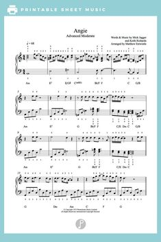 Angie by The Rolling Stones Piano Sheet Music | Advanced Level