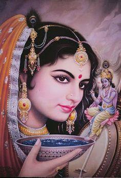 A biography of Mira Bai, the Hindu Saint who devoted her life to the love of Krishna. Arte Krishna, Krishna Radha, Krishna Love, Lord Krishna, Radha Rani, Hinduism In India, Radhe Krishna Wallpapers, Bhakti Yoga, India Art