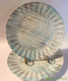 Blue Wave Blue Ridge Colonial Dinner Plates 2 Turquoise Gray Swirl Rare #BlueRidge