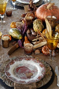 Creating a Pumpkin Vase Centerpiece for Thanksgiving – Home is Where the Boat Is Thanksgiving Tablescapes, Thanksgiving Feast, Holiday Tables, Thanksgiving Decorations, Thanksgiving Flowers, Vintage Thanksgiving, Pumpkin Vase, A Pumpkin, Pumpkin Crafts