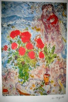 Marc Chagall - Red Bouquet with Lovers
