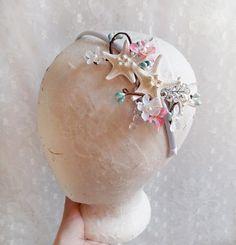 seashell bridal headband, starfish hair accessories, rhinestone aqua wedding headband, blue beach wedding -LAETITIA- ocean hair accessories on Etsy, $85.00