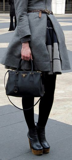 Fall style with classic Prada bag. Love the size as my giant bags are wreaking havoc on my shoulders! ugh.l