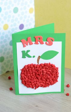 """Surprise your teacher teacher with this cleverly designed and personalised tissue paper apple card. Perfect little craft for back to school """"season"""". Creative Homemade Gifts, Diy Gifts For Kids, Easy Crafts For Kids, Craft Activities For Kids, Crafts To Do, Homemade Cards, Diy For Kids, Paper Crafts, Teacher Cards"""