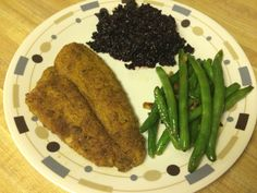 Fried flounder with garlic free beans and black rice
