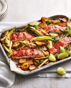 Spicy salmon and new potato traybake | delicious. magazine Spicy Recipes, Salmon Recipes, Veggie Recipes, Fish Recipes, Lunch Recipes, Seafood Recipes, Healthy Recipes, Healthy Dinners, Healthy Food