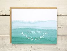 Watercolor ombre thank you card set featuring an original illustration. Cards are blank inside. Choice of message on front of card: thank you or